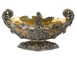 imposing baroque centerpiece in chiseled and embossed silver, 24 kt gilded parts, signed Mazzucato, 1950s